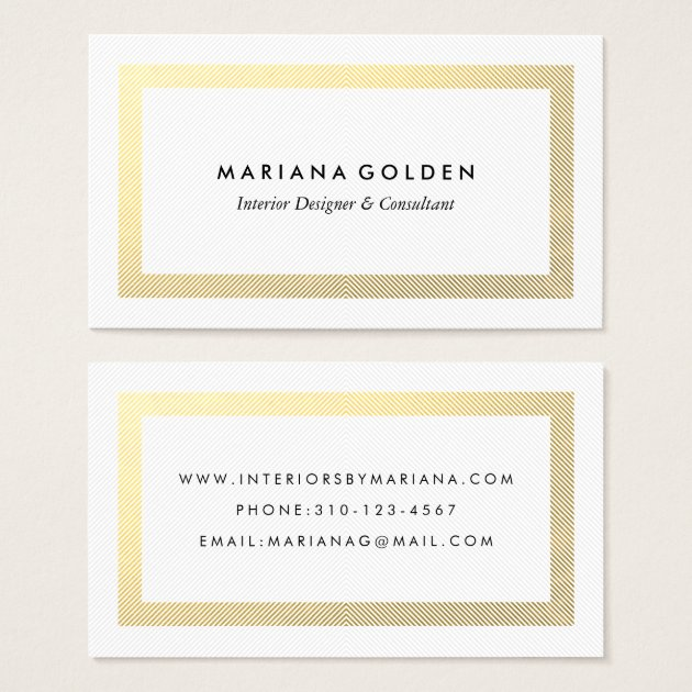 Thick Gold Border On White Business Card Template Zazzle