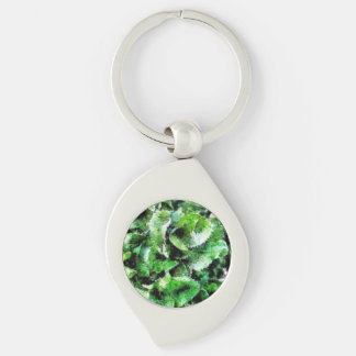 Thick green cabbage leaves Silver-Colored swirl key ring