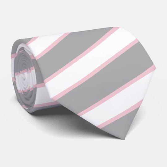 Thick Grey Thin Pale Blush Pink Stripes Tie