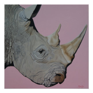 """Thick Skinned"" Rhino on pink background. Poster"