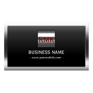 Thick Steel Border Monogram Construction Business Card Template