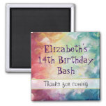 Thick Textured Abstract Paint Thank You Birthday Square Magnet