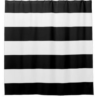 Thick White Stripe on Black Shower Curtain