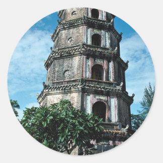 Thien Mu Pagoda, banks of Perfume River, Hue, Viet Round Sticker