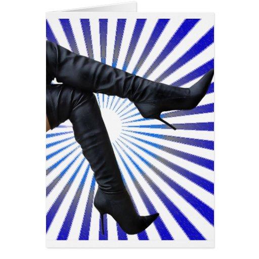 Thigh High Boot Art (blue star burst) Greeting Card