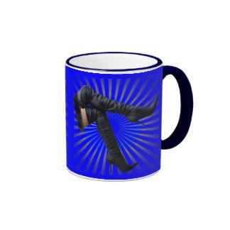 Thigh High Boot Art (blue star burst) Coffee Mugs