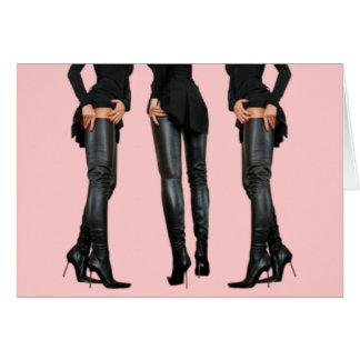 Thigh High Boot Models Greeting Card