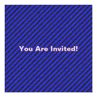 Thin Black and Blue Diagonal Stripes 13 Cm X 13 Cm Square Invitation Card