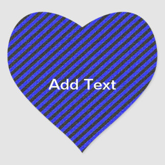 Thin Black and Blue Diagonal Stripes Heart Sticker