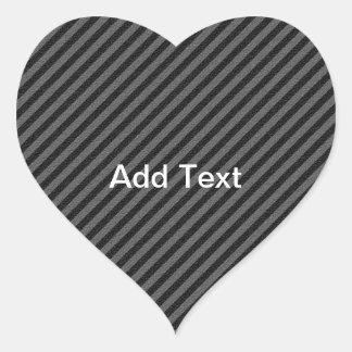 Thin Black and Gray Diagonal Stripes Heart Sticker