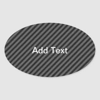 Thin Black and Gray Diagonal Stripes Oval Sticker