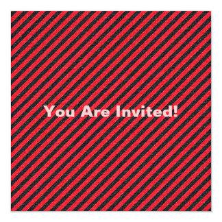 Thin Black and Red Diagonal Stripes 13 Cm X 13 Cm Square Invitation Card