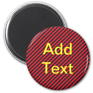 Thin Black and Red Diagonal Stripes 6 Cm Round Magnet