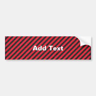 Thin Black and Red Diagonal Stripes Bumper Sticker