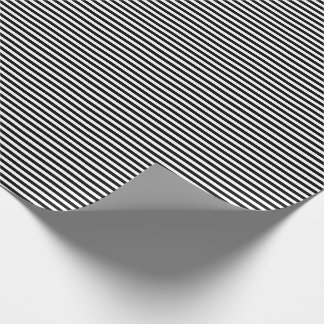 Thin Black and White Stripes Wrapping Paper