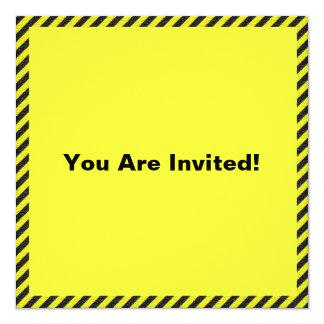 Thin Black and Yellow Diagonal Stripes 13 Cm X 13 Cm Square Invitation Card