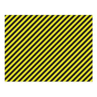 Thin Black and Yellow Diagonal Stripes Postcard