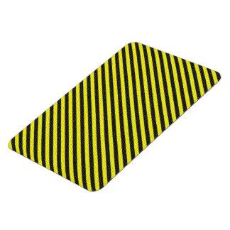 Thin Black and Yellow Diagonal Stripes Vinyl Magnets