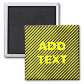 Thin Black and Yellow Diagonal Stripes Square Magnet