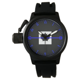 Thin Blue Line Accent Dial on Canadian Flag Watch