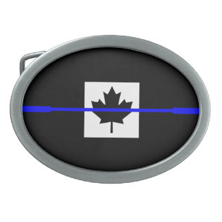 Thin Blue Line Accent on Canadian Flag Belt Buckle