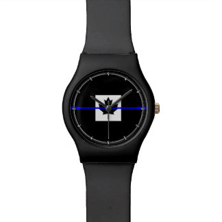 Thin Blue Line Accent on Canadian Flag Watch