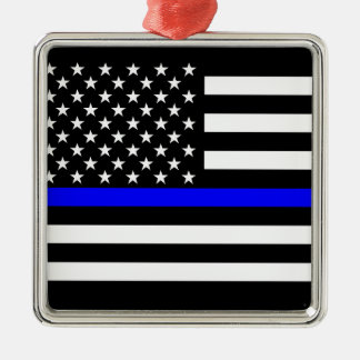 Thin Blue Line American Flag Black and White Silver-Colored Square Decoration
