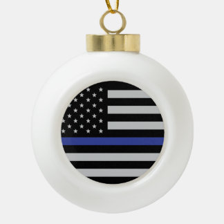 Thin Blue Line - American Flag Ceramic Ball Christmas Ornament