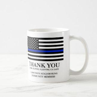 Thin Blue Line American Flag Custom Text Thank You Coffee Mug