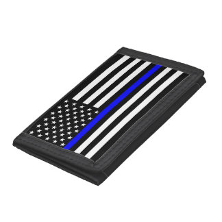 Thin Blue Line American Flag Graphic Decor Tri-fold Wallet