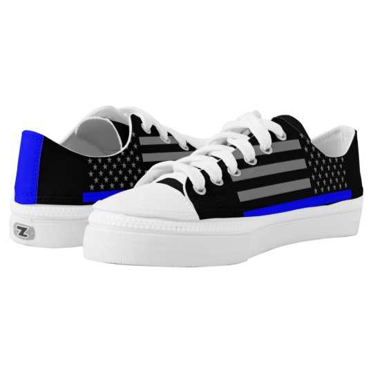 Thin Blue Line American Flag graphic on Low Tops