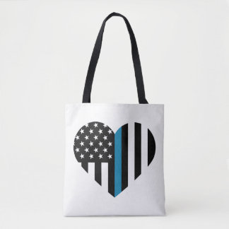 Thin Blue Line American Flag Heart Tote Bag