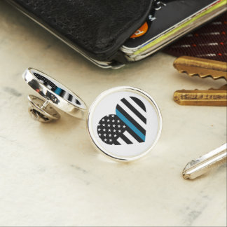 Thin Blue Line American Flag Lapel Pin