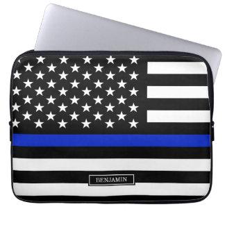 Thin Blue Line American Flag Laptop Sleeve