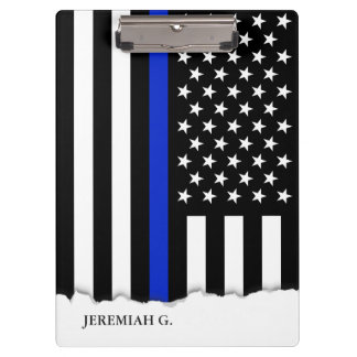 Thin Blue Line American Flag Personalized Clipboards