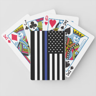 Thin Blue Line - American Flag Personalized Custom Bicycle Playing Cards