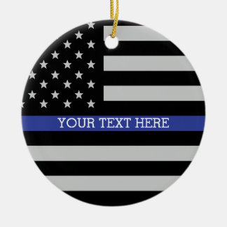 Thin Blue Line - American Flag Personalized Custom Christmas Ornament
