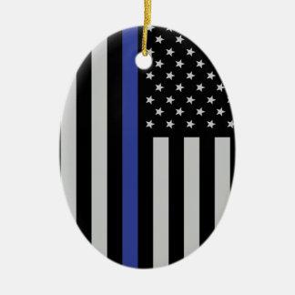Thin Blue Line - American Flag Personalized Custom Christmas Ornament