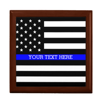 Thin Blue Line - American Flag Personalized Custom Gift Box