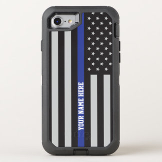 Thin Blue Line - American Flag Personalized Custom OtterBox Defender iPhone 8/7 Case