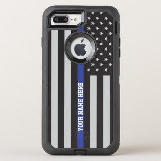 Thin Blue Line - American Flag Personalized Custom OtterBox Defender iPhone 8 Plus/7 Plus Case