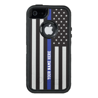 Thin Blue Line - American Flag Personalized Custom OtterBox Defender iPhone Case
