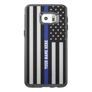 Thin Blue Line - American Flag Personalized Custom OtterBox Samsung Galaxy S6 Edge Plus Case