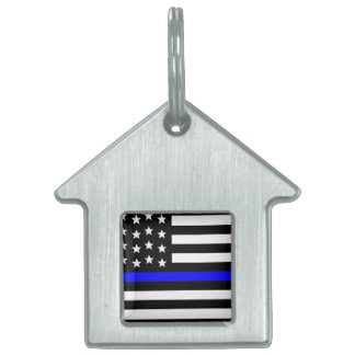 Thin Blue Line - American Flag Personalized Custom Pet ID Tags