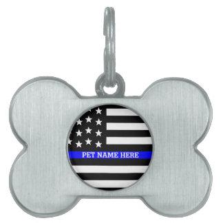 Thin Blue Line - American Flag Personalized Custom Pet Tags