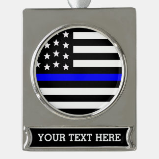 Thin Blue Line - American Flag Personalized Custom Silver Plated Banner Ornament