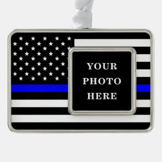 Thin Blue Line - American Flag Personalized Custom Silver Plated Framed Ornament