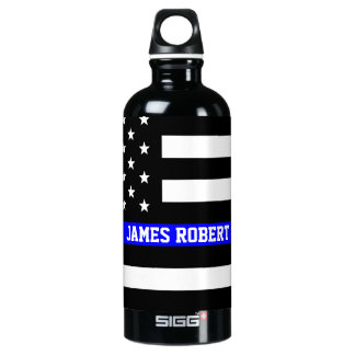 Thin Blue Line - American Flag Personalized Custom Water Bottle