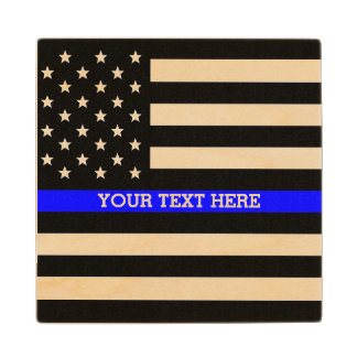 Thin Blue Line - American Flag Personalized Custom Wood Coaster