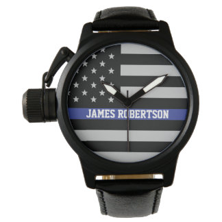 Thin Blue Line - American Flag Personalized Watch